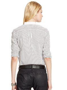 Striped Bib-Front Cotton Shirt - Lauren Long-Sleeve - RalphLauren.com