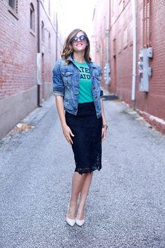 You would have thought you can not dress down a lace skirt.. well we got news you can ! get inspired from here... wear a black lace pencil skirt with a colored tee tucked in and a denim jacket. Just add heels and sunglasses to complete the look