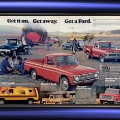 1977 Ford Trucks Courier Van Step side Bronco Vintage Ad from West Coast Vintage for $10.00 on Square Market Ford Truck Models, Ford Trucks, Ford Courier, Car Advertising, Car Makes, Vintage Ads, Lineup, West Coast, Muscle Cars