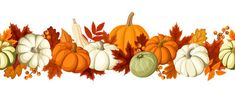 Horizontal seamless background with pumpkins and autumn leaves. Vector illustration. Stock Photos