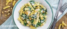 Pasta met kip en romige spinazie Pasta Recipes, Dinner Recipes, Cooking Recipes, Pasta Noodles, Cooking Time, Pasta Salad, Macaroni, Potato Salad, Food And Drink