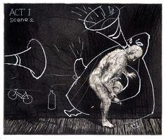 William Kentridge Ubu Tells the Truth (1996-7) Etching with soft ground, aquatint and drypoint Image 25 x 30 cm