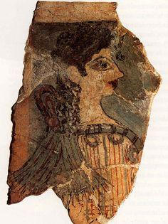 ** La Parisina, Knossos - Restos de un fresco mural hallados en el palacio de Knossos, concretamente en el ala oeste en la zona de representación y almacenes del palacio.