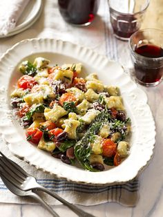 Spinach gnocchi with blistered tomatoes, basil and olives - delicious. Endive Recipes, Gnocchi Recipes, Spinach Recipes, Veggie Recipes, Pasta Recipes, Vegetarian Recipes, Healthy Recipes, Radish Recipes, Vegetarian Dinners