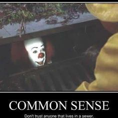 """Tim Curry as Pennywise the Clown in Stephen King's """"IT"""" Horror Movies Funny, Scary Movies, Awesome Movies, Scary Movie Memes, Horror Pics, Scary Funny, Horror Art, Funny Quotes, Funny Memes"""