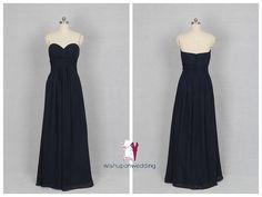 Dark Navy Bridesmaid Dress Aline Sweetheart by wishuponwedding