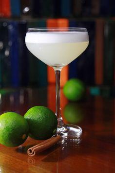 White Star - Pear vodka, elderflower liqueur, fresh lime, a dash of egg white and a dusting of cinnamon.
