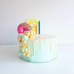 Release your inner child and order this fun and colourful cake! Colorful Cakes, Drip Cakes, Candyland, Desserts, Food, Meal, Deserts, Essen, Hoods
