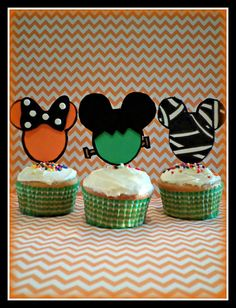 Mickey Mouse Inspired Halloween Cupcake Toppers by Foamtastic Halloween 1st Birthdays, Disney Halloween Parties, Halloween First Birthday, Mickey Mouse Halloween, Halloween Party Themes, Mickey Birthday, Halloween Treats, 2nd Birthday, Halloween Decorations