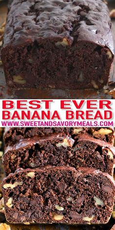 Chocolate Banana Bread is the best banana bread you will ever have! Incredibly tender, moist and flavorful, loaded with chocolate chips and crunchy walnuts! recipes homemade easy video Best Chocolate Banana Bread [VIDEO] - Sweet and Savory Meals Banana Bread Brownies, Chocolate Banana Bread, Best Banana Bread, Banana Bread Recipes, Homemade Chocolate, Banana Walnut Bread Moist, Banana Bread Cookies, Lemon Brownies, Homemade Snickers