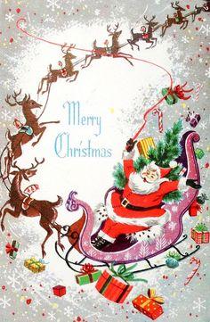 Mid Century Santa & Reindeer-Sleigh-Vintage Christmas Card-Greeting in Collectibles, Paper, Vintage Greeting Cards, Christmas Christmas Tree Scent, Old Christmas, Retro Christmas, Christmas Holidays, Vintage Christmas Images, Vintage Holiday, Christmas Pictures, Christmas Greeting Cards, Christmas Greetings