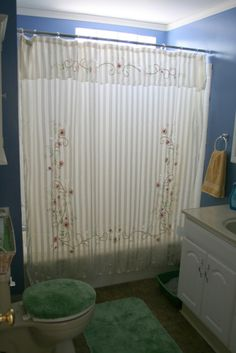 Awesome Striped Patterned Shower Curtain With Floral Ornaments Mixed Blue Painted W Shabby Chic Shower Curtain