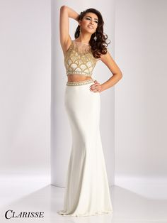 3510683f41b Clarisse Prom 3009 Ivory Two-Piece High Neckline Prom Dress