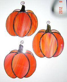Cute Original Orange Stained Glass Pumpkin by StainedGlassAndMore, $24.99
