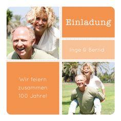 Tolle grafische Einladungskarte in Orange mit zwei Fotos für eine gemeinsame Geburtstagsfeier (Doppelgeburtstag, auch für Zwillinge!)