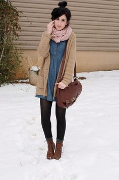 Scarf + cardigan! + Dress + boots (+ tights + socks).