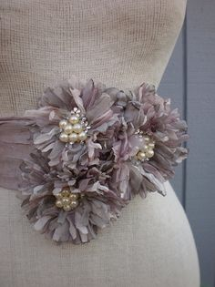 Handmade Bridal Sash With three Unique Design Flowers by deniz03, $75.00