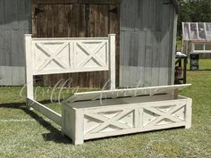 diy Bed Frame high - THE YULEE barn door style storage bed frame Diy King Bed Frame, King Size Bed Frame, Diy Frame, Cali King Bed Frame, Wooden Queen Bed Frame, Custom Bed Frame, Door Bed, Bed Frame With Storage, Storage Beds