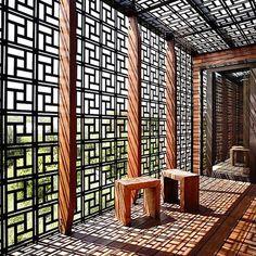 elemento vazado de madeira luz natural decoração casa