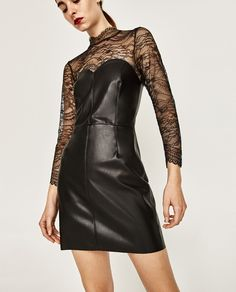 Image 2 of LEATHER EFFECT MINI DRESS from Zara