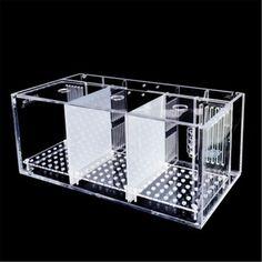 Moaere 3 Grids Rearing Hatchery Box Acrylic Clear Groove Aquarium Fish Tank Guppy Breeding Pot