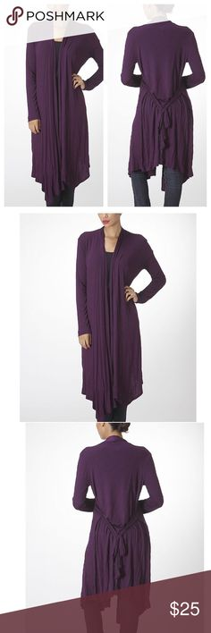 Plum Color Duster- Sizes S & M- NWT Gorgeous Plum color duster with tie and asymmetrical hem.🌺 Wear with belt or open.🌺 Light weight and super comfy.🌺 Sizes S & M🌺 Fits TTS.🌺 Material: Rayon & Spandex.🌺 Greats gifts🎁 Will wrap as gift.🎁 Brand New with tags🎁 🚫Price firm unless bundled🚫 Bellino Clothing Sweaters Cardigans