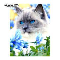 Cat with Blue Eyes http://ali.pub/1h5l2i ZOOYA Diamond Embroidery 5D DIY Diamond Painting Blue Eyes Cat &Flower Diamond Painting Cross Stitch Rhinestone Decoration CJ625