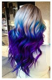 Image result for black hair with blue purple pink green red colored ends