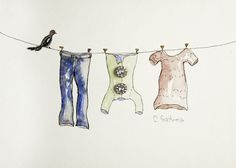 Original watercolor painting, Children's laundry on clothes line with vintage rhinestone button accent. Laundry room or Nursery art. Children's nursery art, baby shower gift, spring laundry room decor art. Affordable original wall art, simple watercolor painting. Pastel, multicolored art that includes two vintage rhinestone buttons. They add a bit of sparkle and add to the unique look. title: SPRING CLEANING.... I use high quality paper and paints. In this purchase you will get one signed...