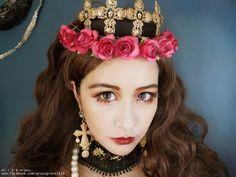 華麗宮廷拜占庭風格,混血貴族女皇氣勢高質感妝容 (束感假睫毛+修容+霧面唇)