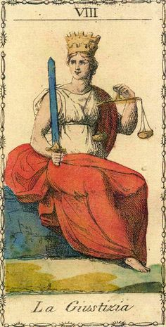 Justice Card from Ancient Tarot of Lombardy Deck | Vintage Oracle | Major Arcana Art