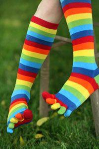 Rainbow toe socks.....a slumber party essential!