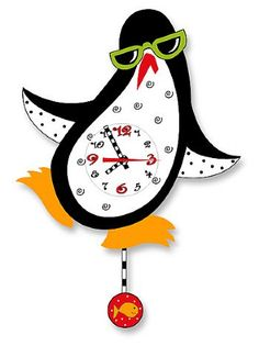 peguin+clocks | Dancing Penguin Pendulum Clock