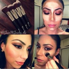 @glamnglowbyale using #silver #kabuki #brush #set #rccosmetics to #contour and #highlight #makeup #makeupaddiction