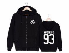 Monsta X Wonho 93  Boy Band K-POP Black Fashion Zipped Hoodie #MonstaX #Wonho #BoyBand #KPOP #Black #Fashion #Zipped #Hoodie #KIDOLSTUFF