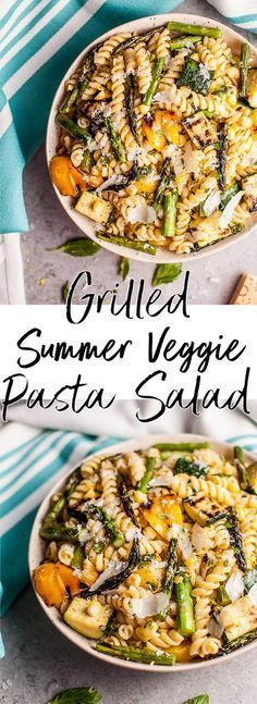 This Grilled Summer Vegetable Pasta Salad Is Healthy And Full Of Flavor Zucchini, Asparagus, Corn, And Yellow Bell Peppers Are Grilled To Perfection And Tossed With A Fresh, Lemony Dressing. Simple To Make And Feeds A Crowd Pasta Recipes, Salad Recipes, Cooking Recipes, Recipes Dinner, Coctails Recipes, Cooking Bacon, Chicken Recipes, Cooking Ribs, Cooking Games