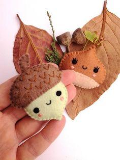 Felt PDF sewing pattern - Acorn and Chestnut. Cute felt brooches, fall / autumn accessory, DIY sewing project Felt PDF sewing pattern Acorn and Chestnut. Felt Crafts Patterns, Felt Crafts Diy, Felt Diy, Fall Crafts, Fabric Crafts, Kids Crafts, Felt Patterns Free, Felt Ornaments Patterns, Upcycled Crafts