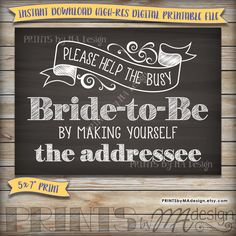 Bridal Shower Address Envelope Sign, Help the Bride by addressing your own envelope, Chalkboard, Instant Download Digital Printable File by PRINTSbyMAdesign on Etsy