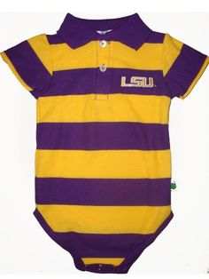 Little mans purple and gold! Lsu Tigers, Gold Stripes, Little Man, Purple Gold, Infant, Therapy, Polo, Mens Tops, Fashion
