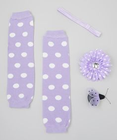 Girly Duds Purple & White Polka Dot Leg Warmer Set by Girly Duds #zulily #zulilyfinds