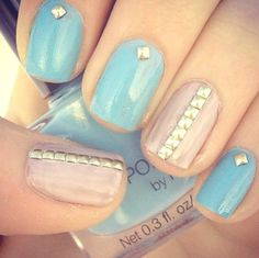 simple studs can dress up nails for your Wedding Day! #weddingnails