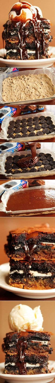 all-food-drink: Chocolate Chip Cookie n' Oreo Fudge Brownie Bar (chocolate fudge brownies mouths) Oreo Fudge, Fudge Brownies, Brownie Bar, Marshmallow Brownies, Hot Fudge, Yummy Treats, Sweet Treats, Yummy Food, Dessert Bars