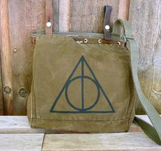 Harry Potter Deathly Hallows Hand Painted on a Vintage Swiss Military Satchel