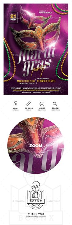 Mardi Gras party flyer template for Photoshop with A4 & 4x6 format. #graphicriver #flyer #poster #template #adobe #photoshop #graphic #design #banner #mardi #gras #fat #tuesday #masquerade #celebration #party #saint #louis #brazil #brazilian #carnival #parade #new #orleans