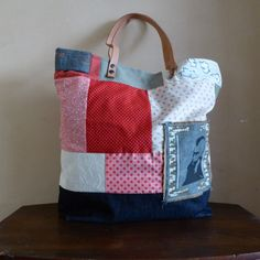 Large tote bag, patchwork style, very unique bag, grand sac cabas. XL bag de LAMILAcanvas2 en Etsy