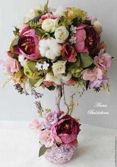"""Купить Топиарий """"Сугилит"""" - сиреневый, сугилит, пионы, розы, топиарий, Дерево счастья, подарок"""