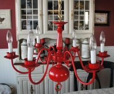 So I just bought a brass chandelier exactly like this at a yard sale for $3!!! I'm gonna paint it yellow to match my kitchen...