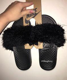 Custom Made Black Faux Fur Nike Benassi Slides by ShopIcxy on Etsy https://www.etsy.com/listing/263817761/custom-made-black-faux-fur-nike-benassi
