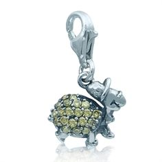 Sterling Silver 20mm 3D Turtle with 7.5 Charm Bracelet Jewels Obsession 3D Turtle Pendant