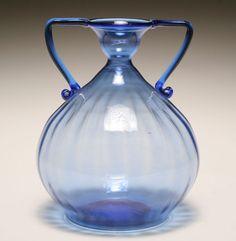 Venini blue soffiati Murano art glass vase, probably Vittorio Zecchin